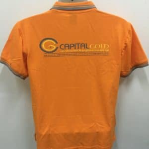 CapitaGold Construction - Orange HC10 Polo Ts (Back View)