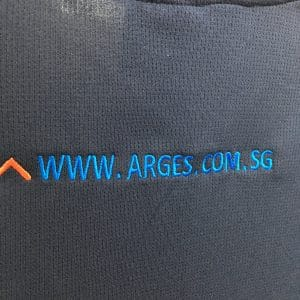 ARGES - Navy cool dri-fit polo t-shirts (back logo view)